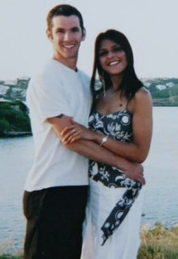 Sweethearts Dan and Beejal on holiday in 2004