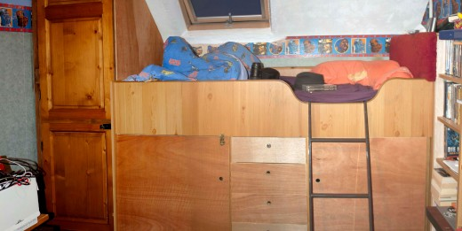 Revamp of an old cabin bunk bed to increase the storage area, and improve its durability.