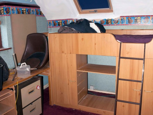 The width of the bed is 3 feet, the original storage space under the bed only extended to 18 inches; leaving a large void of wasted space at the back of the under bed storage.