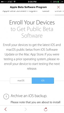 """Select """"iOS"""" on the first screen with information about enrolling your Apple iPhone in the public beta program."""