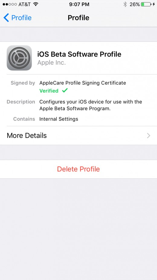 After the iOS Public Beta Profile is complete, you'll notice that profile is verified.