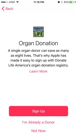 You can start the organ donor sign-up process at the Organ Donation screen.