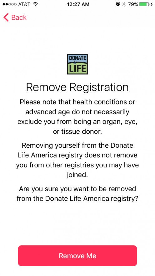 You can remove yourself from being an organ donor with the tap of a button.