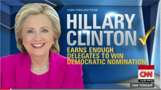 Media report on the day before the California Democratic primary declaring that Clinton had already won.