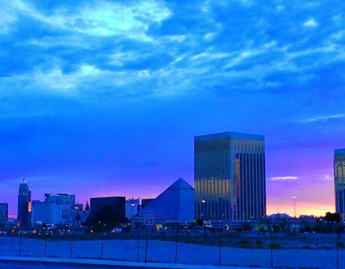 Las Vegas south Strip at sunrise Stay up all night and witness one of our stunning sunrises! If you cannot stay up that late, may I suggest you set your alarm clock for this event?