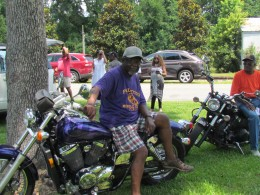 Motorcycles were displayed by class members from Palmetto High School, during the cookout in the park.
