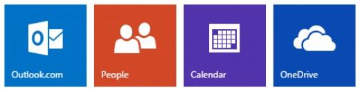 The four major Outlook tiles