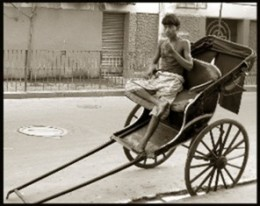 Age-old hand-drawn rickshaw