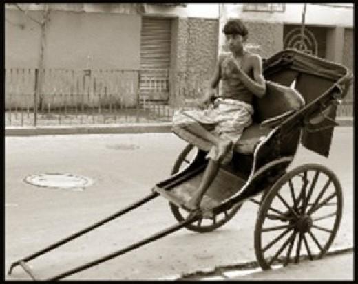 Age-old hand-drawn rickshaw