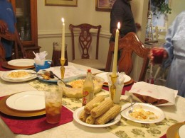 On Friday, we had a candlelight dinner of delicious fried fish, corn on the cob, cold slaw, sweet tea and cornbread as Randolph shared his previous experience.