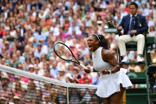 Serena Williams celebrates after a point won against Angelique Kerber in the final of The Championships.