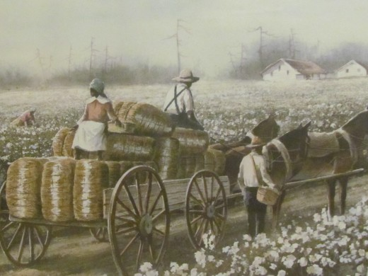 A painting hangs to remind of the days we picked cotton in the south. This painting is in the house of Randolph and Linda Ellerby.