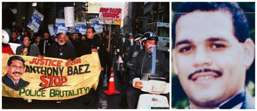left; Demonstrators march at rally, 1994 right; Anthony Baez