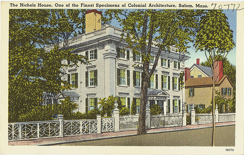 An old postcard showing the Nichols house in Salem, Mass., with a beautiful fence surrounding the dooryard and property.