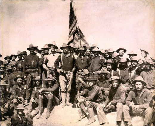 Colonel Roosevelt and the rough riders of the 1st US Volunteer Calvary.