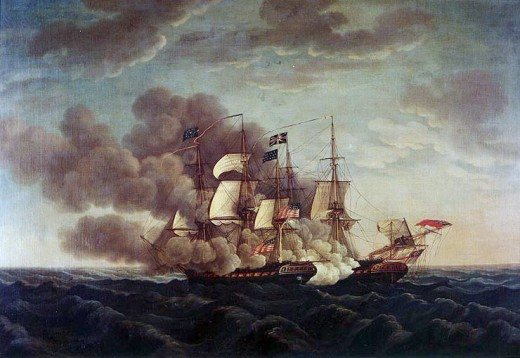 Painting of the British ship, HMS Guerriere, by Michel Felice Corne (1752-1845). Sailors and captain set fire to it after defeat in 1812.