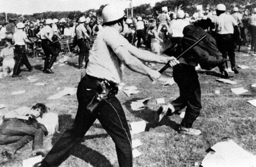 "The Democratic Convention in August 1968 resulted in violence and chants of ""The whole world is watching!"""