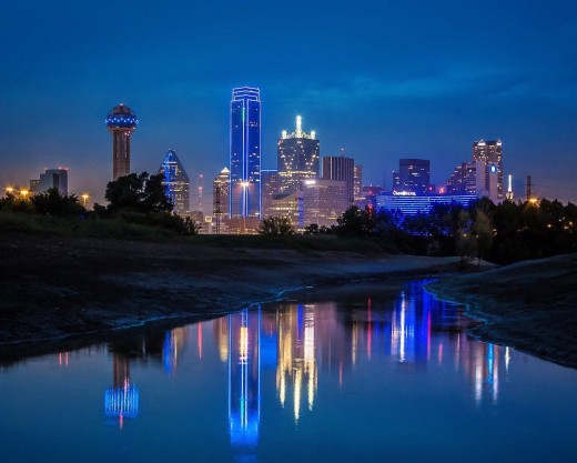 July 8, 2016. Dallas, TX, lit up in blue following the horrifying events of Thursday night.