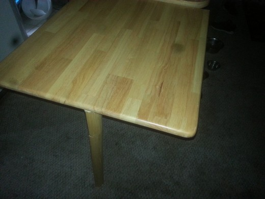 Table (counter top) folded up.