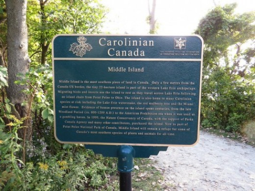 Carolinian Canada Marker, at the tip of the Point Pelee National Park in Leamington, Ontario.