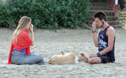 A couple doing their meditation routine.