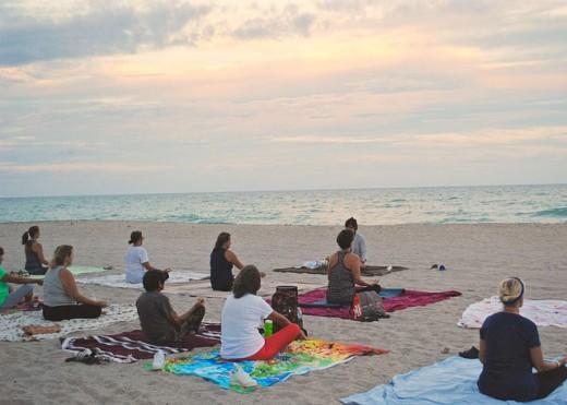 Group yoga class.