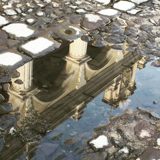cobblestone and water mirror
