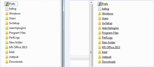 The window on the left shows normal titles, and on the right are underlined titles