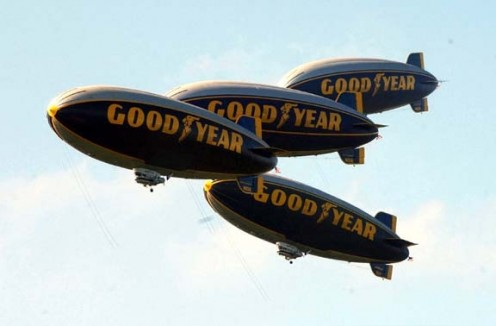 Four blimps fly over Ohio in 2002.
