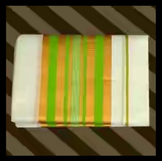 Mundum neriyathum with pista green and golden coloured kara