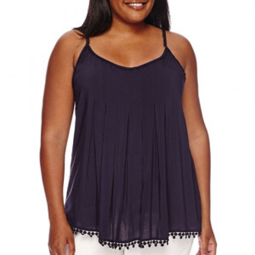cami with front and back pleats -- and lace trim along the neckline, armholes and bottom hem