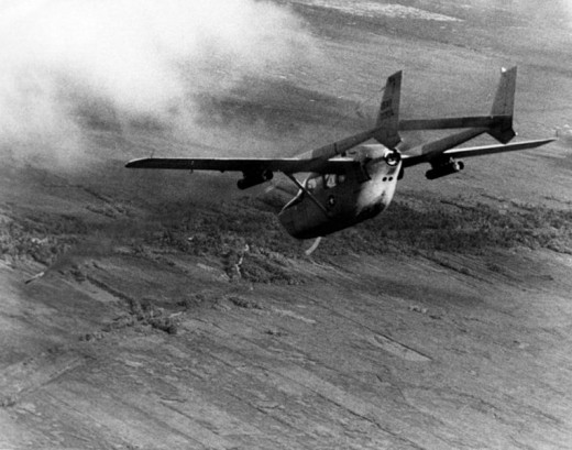USAF O-2A forward air control aircraft flying over Vietnam.