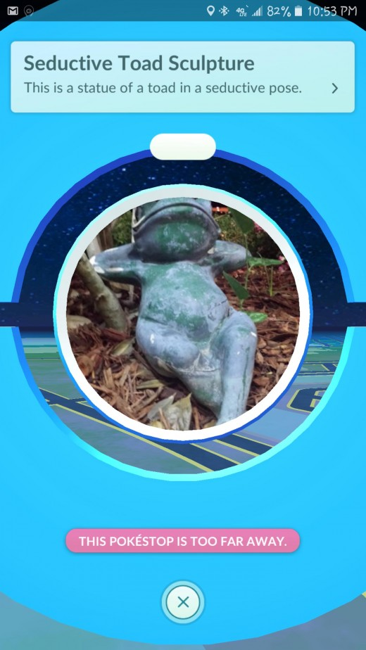 This sexy frog is sure to be enjoying its visitors. Given the sexual nature of this frog's pose, one can speculate if it's art or nudity and should it be included in the game with children playing. They may come up against some santimommies outcries.