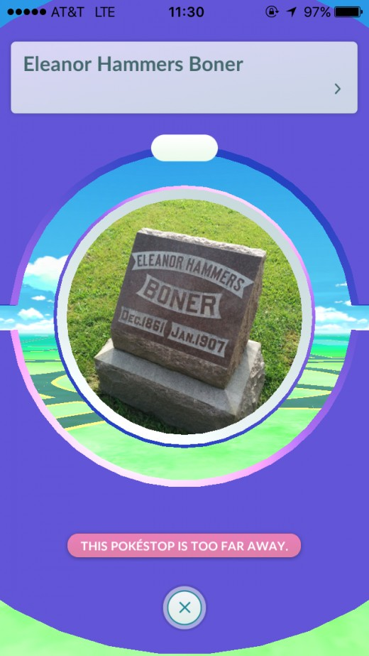While not a memorial, but a grave marker, the name of this particular deceased person seems to be the butt of the joke in creating a not so subtle innuendo that the game uses to play on words throughout  a majority of Pokestops.
