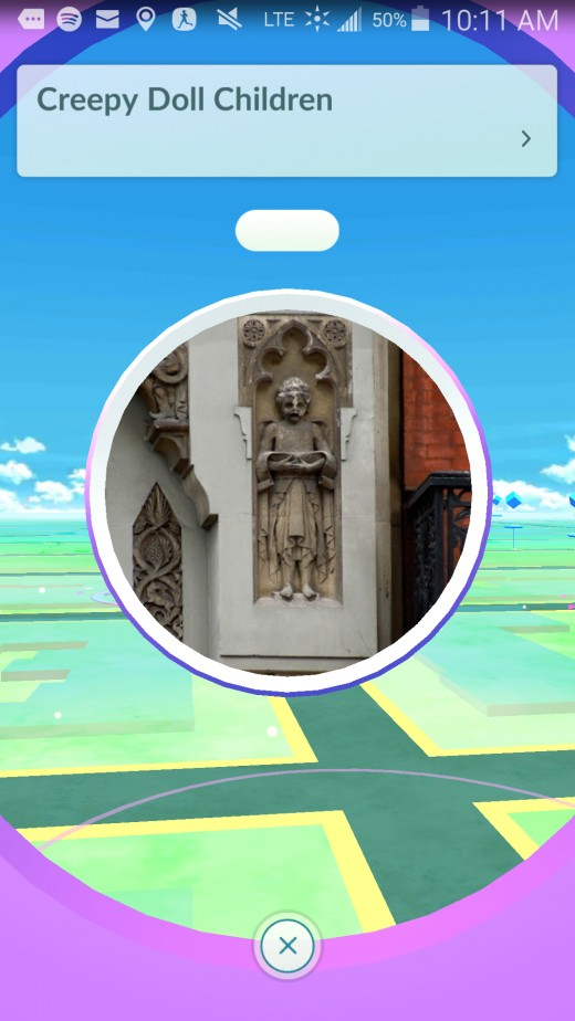 This sculpture looks to have some spiritual significance or perhaps it's just a nice bronze statue of hanging dolls. Either way, it is a bit odd in the placement of the Pokestops and has probably creeped a lot of people out.