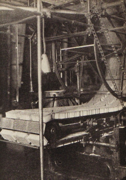 "When the match splints are in position on the machine, they advance slowly past several ""stations.""  They are treated to prevent afterglow, dipping in paraffin wax, putting on the heads, and discharging the finished match. E.G. Eddy Company (1931)"