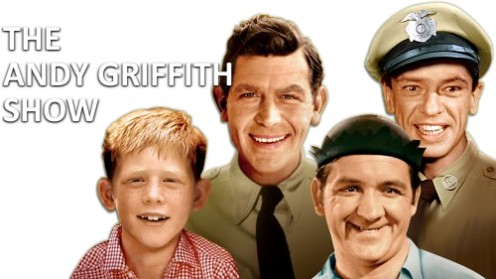 "From left, Ronny Howard, ""Opie,"", Andy Griffith, ""Andy Taylor,"" Don Knotts, ""Barney Fife,"" and George Lindsey, ""Goober"""