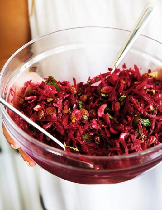 Beetroot, scallions, mint and raisins salad