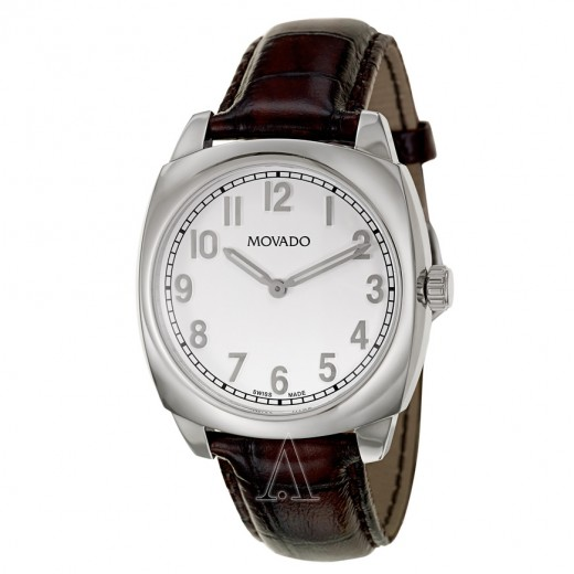 Movado, Circa, Men's Watch, Stainless Steel Case, Leather Crocodile Strap, Swiss Quartz (Battery-Powered), 0606587