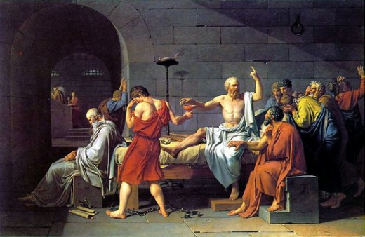 Socrates is about to consume hemlock in this painting by Jacques-Louis David