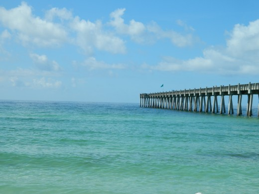 View of the pier from the beach