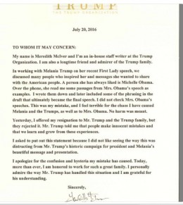 This picture is the first statement in regards to the plagiarized speech from speechwriter on behalf of Melania Trump.
