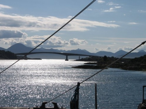 The volunteer expedition started off from Kyle of Lochalsh, Scotland with the island of Skye in the background.