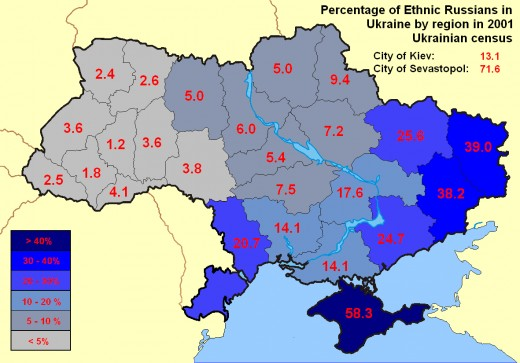 Percentage of Ethnic Russian in Ukraine
