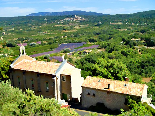 Old church with Provence landscape - homage to Paul Cezanne.