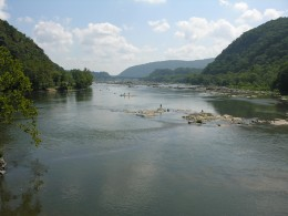 The Potomac River at Harpers Ferry, August 2009.
