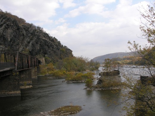 Remains of a destroyed bridge at Harpers Ferry