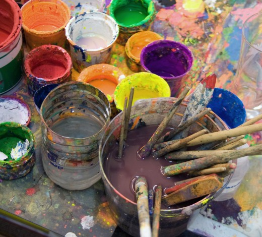 In an art studio class, things can get a little messy.It usually depends on the medium that you would be using.