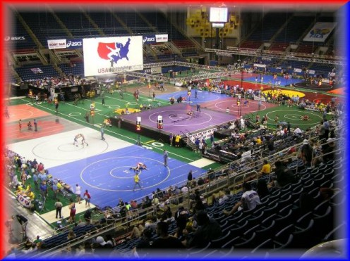 25 mats are packed comfortably on the football field inside the Fargo Dome at NDSU.