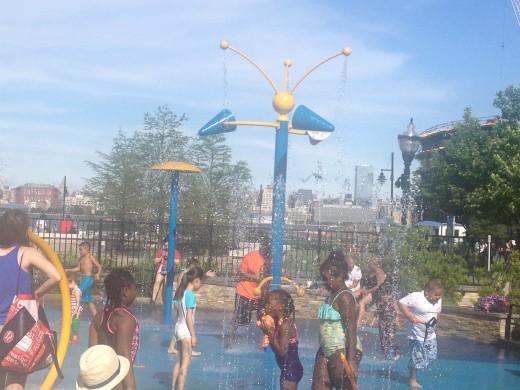 Water fun in Jersey City's Newport Greens!